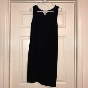 Black ribbed tank top dress